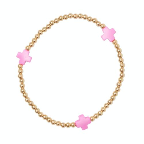 Pink Gold Cross 3mm Bead Bracelet