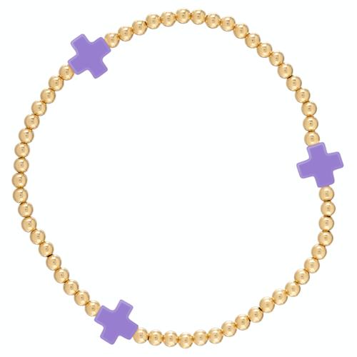 Purple Gold Cross 3mm Bead Bracelet
