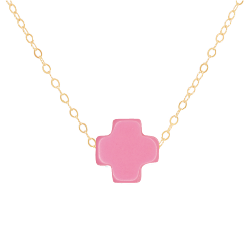 "16"" Pink Gold Cross Necklace"
