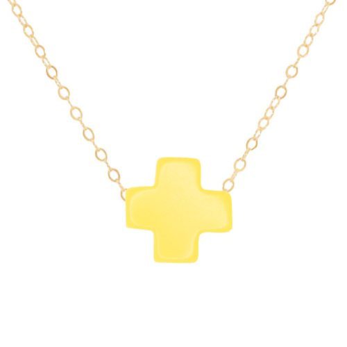 "16"" Yellow Gold Cross Necklace"