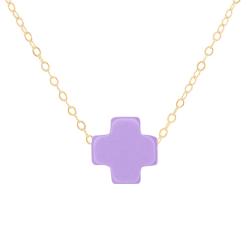 "16"" Purple Gold Cross Necklace"