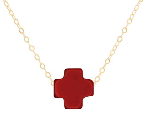 "16"" Red Gold Cross Necklace"