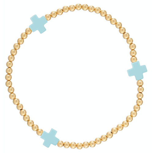 Turquoise Gold Cross 3mm Bead Bracelet