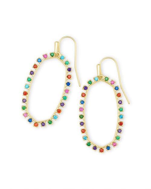 Elle Open Frame Multi CZ Earrings