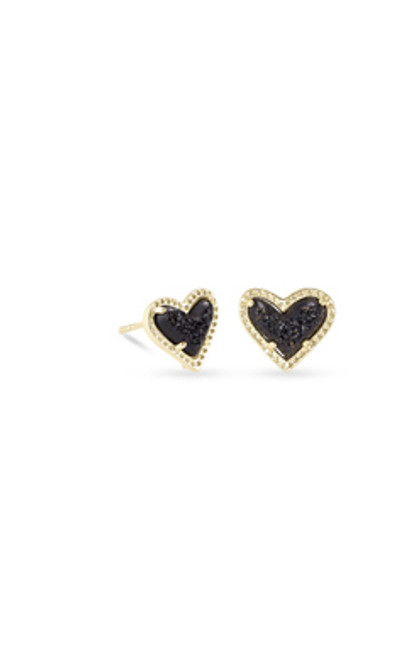 Ari Heart Black Drusy Stud Earrings