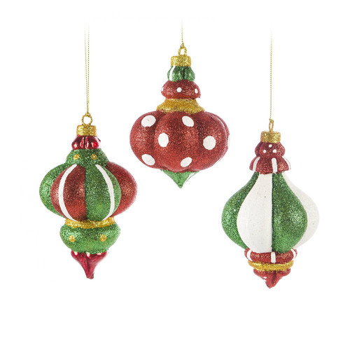 Glitter Finial Ornament 5.25""