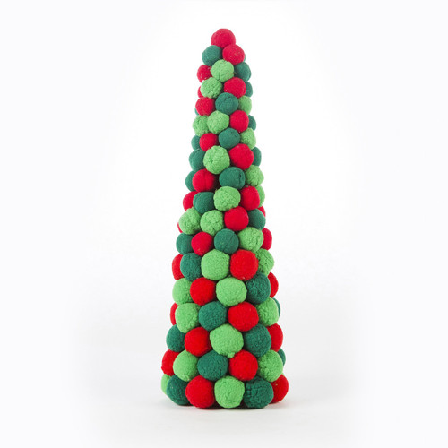 "15"" Green Red Pompom Cone"