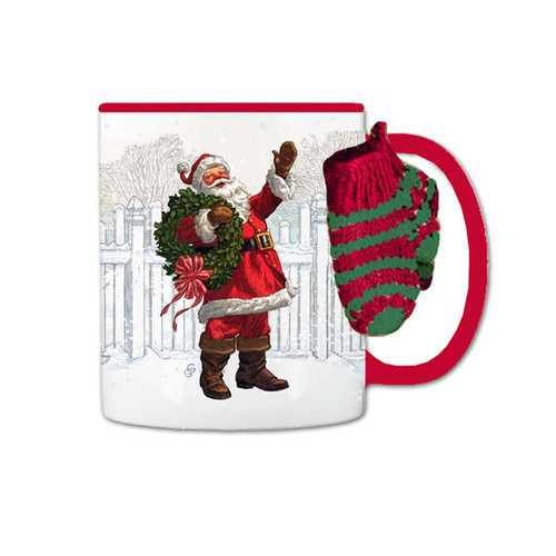Christmas in Evergreen Santa Mug with Mitten Attachment