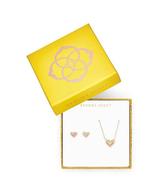 Ari Heart Gold Pink Opal Gift Set