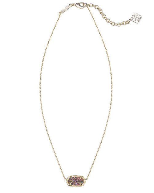 Elisa Gold Pendant Necklace In Multi-Color Drusy