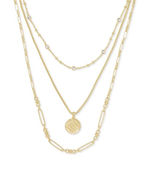 Gold Medallion Triple Strand Necklace