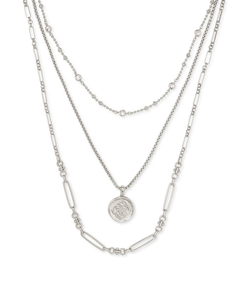 Silver Medallion Triple Strand Necklace