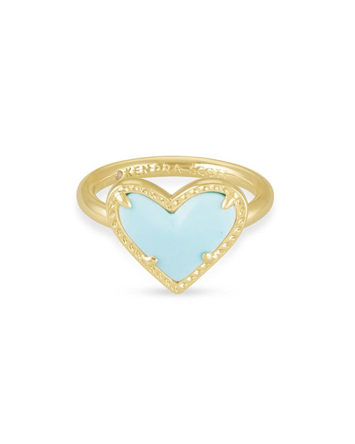 Ari Heart Size 7 Gold Blue Magnesite
