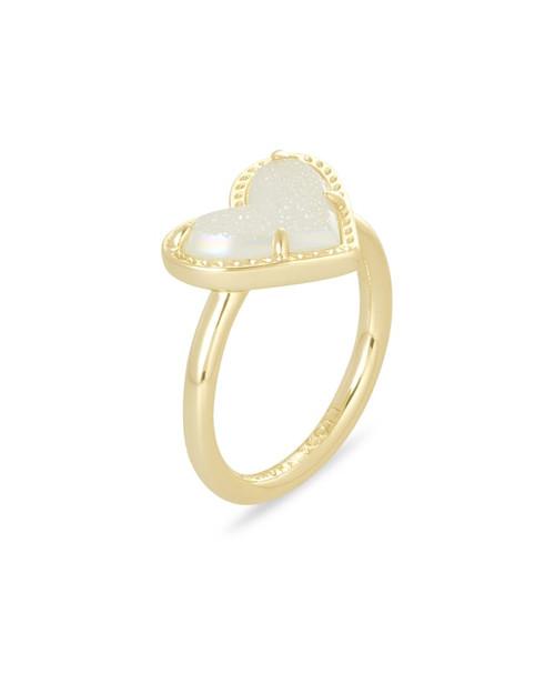 Ari Heart Ring Size 6 Gold Iridecent Drusy