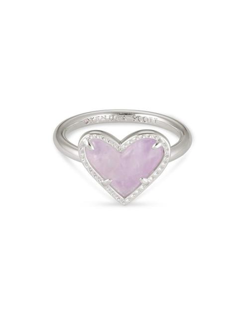 Ari Heart Ring Size 6 Silver Amethyst