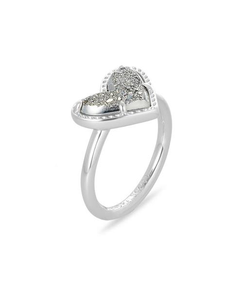 Ari Heart Ring Size 6 Silver Drusy