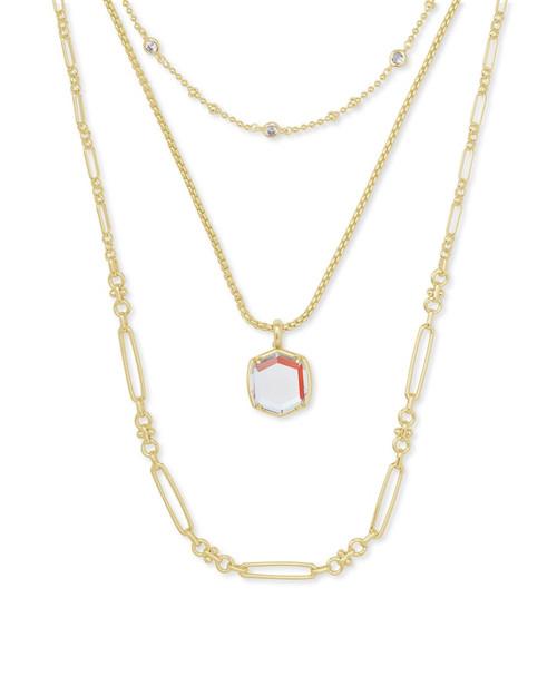 Davis Gold Triple Strand Dichroic Necklace