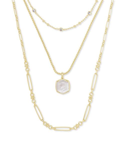 Davis Gold Triple Strand Ivory Necklace