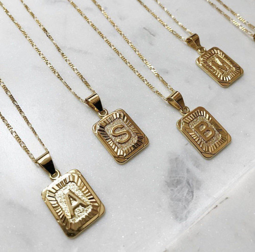 Initial Card L Gold Filled Necklace