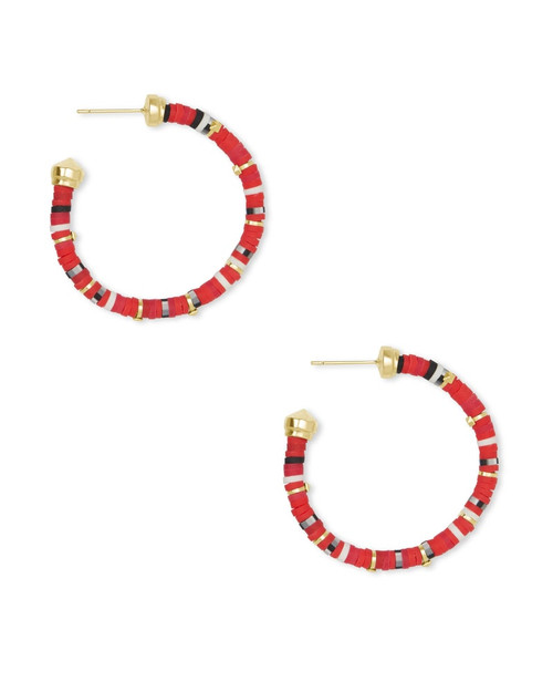 Reece Small Hoop Gold Red Earrings