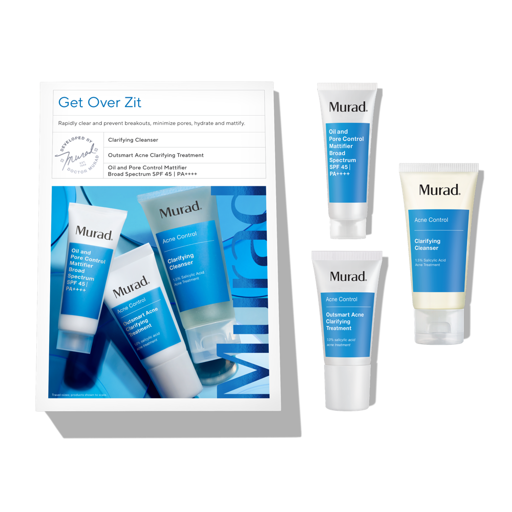 Murad Get Over Zit - 3 Piece Set - Prevent Breakouts While Minimizing Pores