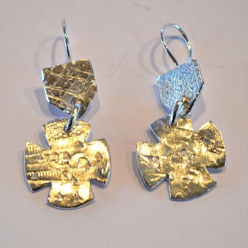 Cast wax sterling silver double earrings