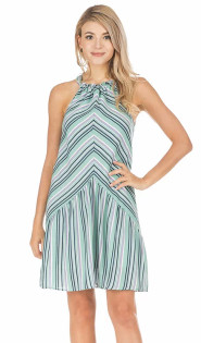 Seafoam & Lavender Stripe Halter Dress- Seafoam/Lavender