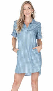 Denim Stripe Shirt Dress- Denim Stripe