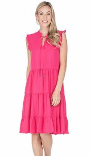Fuchsia Tie Front Tiered Dress- Fuchsia