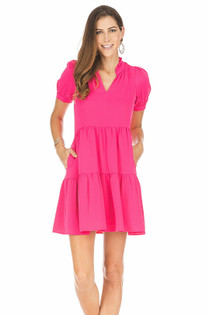 Short Sleeve Tiered Dress- Fuchsia