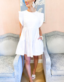 Ruffle Sleeve Tiered Mini Dress- White