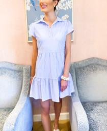 Giselle Dress- Pinstripe Chambray