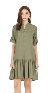Button Down Dress- Army Green