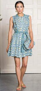 Apatite Dress- Ikat Blue/Yellow