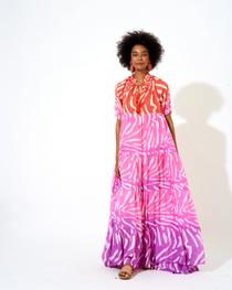 Zebra Short Sleeve Maxi Dress- Coral Ombre
