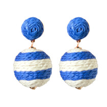 Blue and White Stripe Raffia Wrapped Lido Pom Pom Earrings