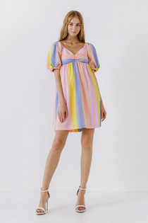 Pastel Stripe Puff Sleeve Dress- Pastel Stripe