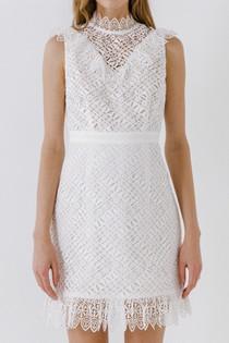 Lace Ruffled Mini Dress- White