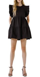 Ruffle Sleeve Tiered Mini Dress- Black