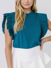 Ruffle Sleeve Knit Top- Teal