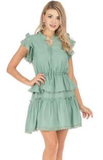 Moss Green Flutter Sleeve Dress- Moss Green