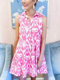 Sleeveless Mini Shirtdress- Pink Ikat