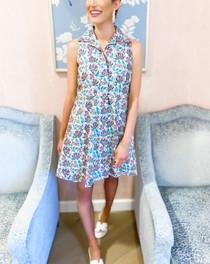 Sleeveless Mini Shirtdress- Summer Lotus