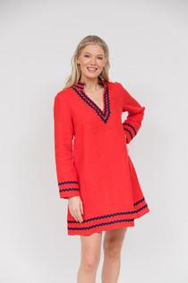 Long Sleeve Tunic Dress- Red w/Navy Ric Rac