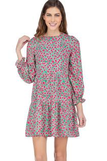 Long Sleeve Tiered Dress- Watermelon Spots
