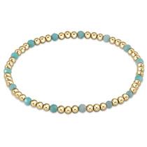 Gold Sincerity Pattern 3mm Bead Bracelet- Amazonite