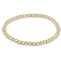 Gold Sincerity Pattern 3mm Bead Bracelet- Pearl