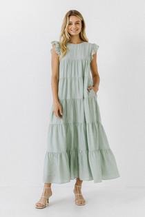 Flutter Sleeve Tiered Dress- Sea Foam