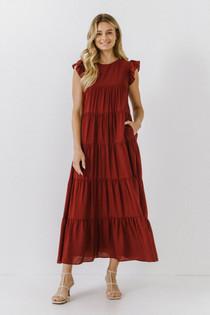 Flutter Sleeve Tiered Dress- Brick