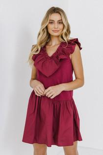 Knit Woven Ruffle V-Neck Dress- Plum